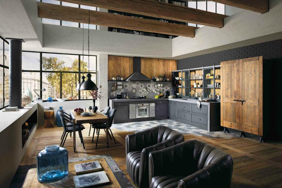 mit recyceltem altholz kombiniert k chenplaner magazin. Black Bedroom Furniture Sets. Home Design Ideas